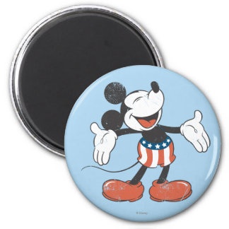 Holiday Mickey   Patriotic Singing 2 Inch Round Magnet