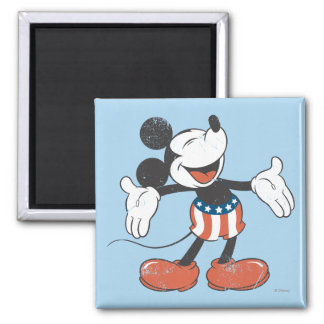 Holiday Mickey   Patriotic Singing 2 Inch Square Magnet