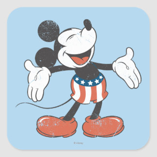 Holiday Mickey | Patriotic Singing Square Sticker