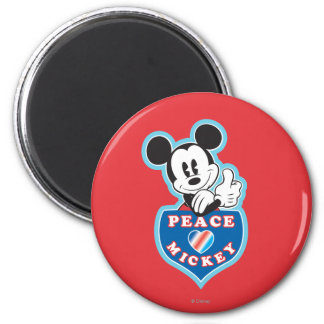Holiday Mickey   Peace Love 2 Inch Round Magnet