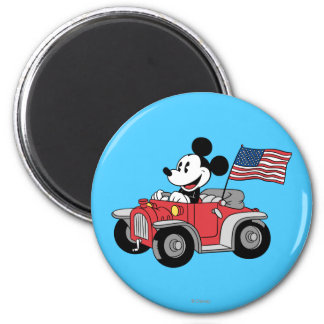 Holiday Mickey   Red Convertible 2 Inch Round Magnet