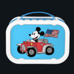 """Holiday Mickey   Red Convertible Lunch Box<br><div class=""""desc"""">Mickey Mouse   Check out Mickey driving his classic red convertible with the US flag waving in the breeze.</div>"""