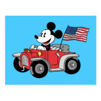 Holiday Mickey   Red Convertible Postcard