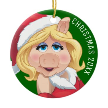 Disney Themed Holiday Miss Piggy 2 Ceramic Ornament