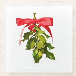 holiday mistletoe glass coaster