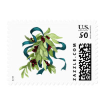 Holiday Mistletoe with Red Berries and Teal Bow Postage