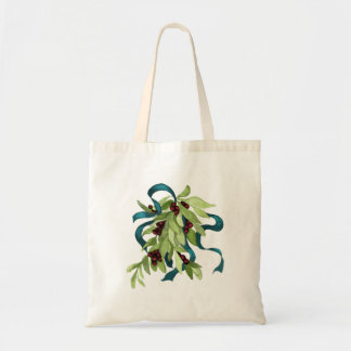 Holiday Mistletoe with Red Berries and Teal Bow Tote Bag
