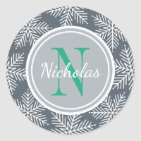 Holiday Monogram   Snowflake Border Stickers
