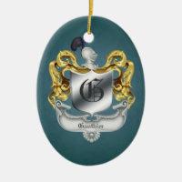 Holiday Monogrammed Helmet Crest Ornament