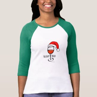 HOLIDAY MOOD - WINE & SANTA HAT T-Shirt