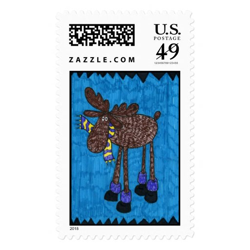 Holiday Moose Stamp