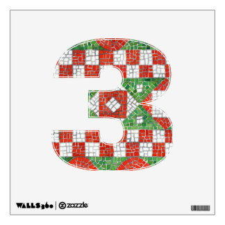 """Holiday Mosaic Number """"3""""  Wall Decal"""