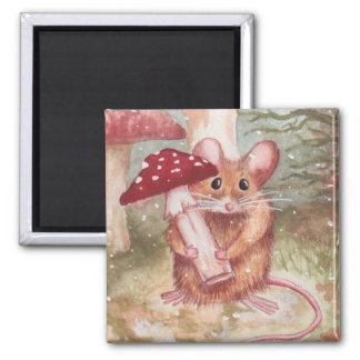 Holiday Mouse and Mushroom Magnet