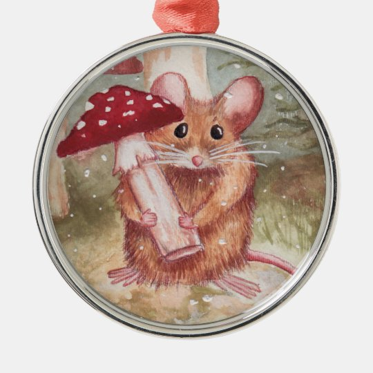 Holiday Mouse and Mushroom Metal Ornament
