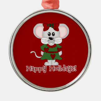 Holiday Mouse Happy Holidays! Round Metal Christmas Ornament