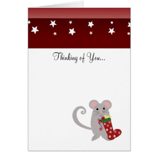 Holiday Mouse with Red Stocking Card