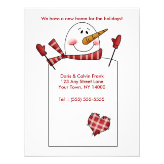 HOLIDAY MOVING CARD Change of Address Snowman Custom Announcements