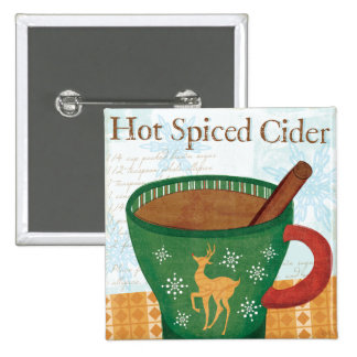 Holiday Mug with Hot Spiced Cider 2 Inch Square Button