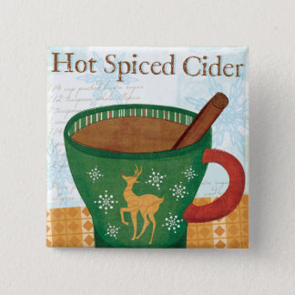 Holiday Mug with Hot Spiced Cider Pinback Button