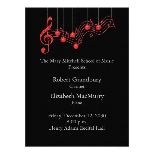 Holiday Musical Recital Program Custom Invitations