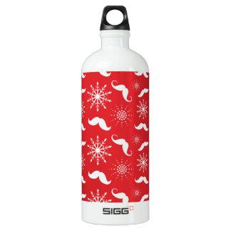 Holiday Mustache Pattern Aluminum Water Bottle