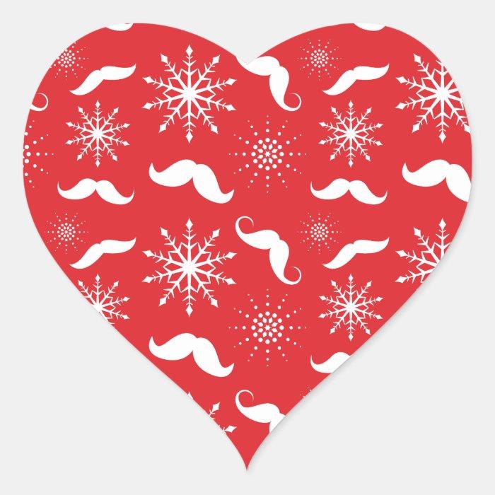 Holiday Mustache Pattern Heart Sticker
