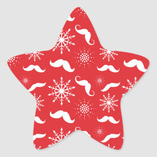 Holiday Mustache Pattern Star Sticker