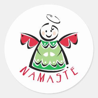 Holiday Namaste Angel Round Stickers
