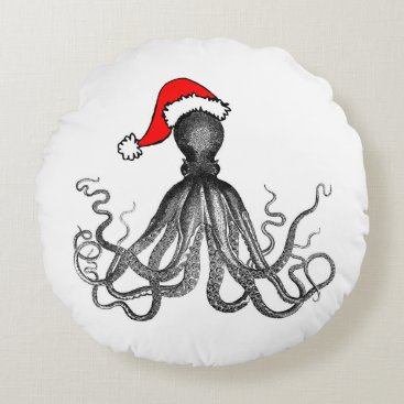 Christmas Themed Holiday Nautical Steampunk Octopus Vintage Kraken Round Pillow