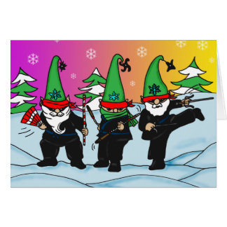 Holiday Ninja Elves Greeting Card