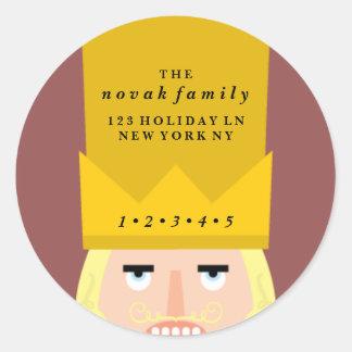 Holiday Nutcracker Address Classic Round Sticker