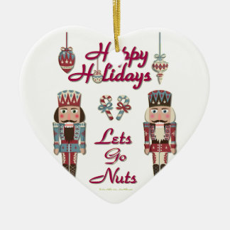 Holiday Nutcracker Lets Go Nuts Ceramic Ornament