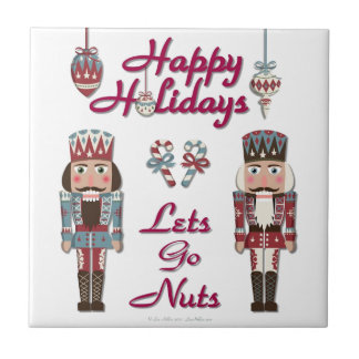 Holiday Nutcracker Lets Go Nuts Small Square Tile