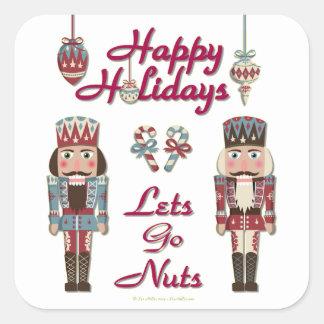 Holiday Nutcracker Lets Go Nuts Square Sticker