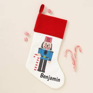 Holiday Nutcracker with Candy Cane Christmas Stocking