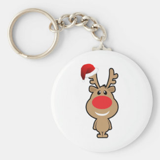 Holiday of funny Christmas santa Basic Round Button Keychain