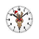 Holiday of funny Christmas santa Round Clocks