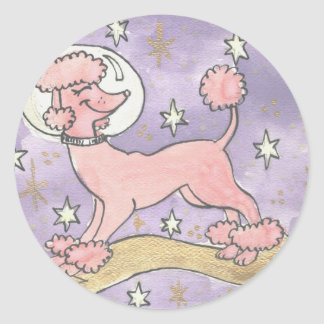 Holiday of the Cosmic Pink Poodle Classic Round Sticker