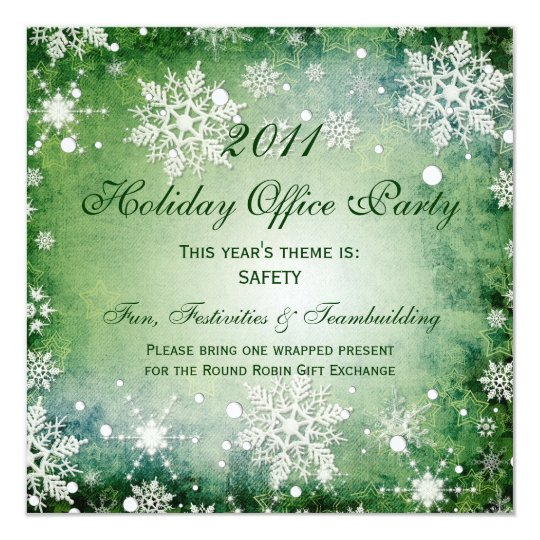 Holiday Office Party Invitations Green Snowflakes