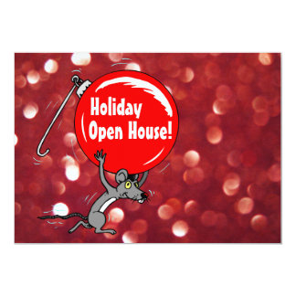 Holiday Open House Christmas Mouse 5x7 Paper Invitation Card