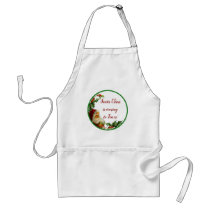 Holiday Open House Green Glitter Santa Holly Adult Apron