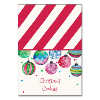Holiday Ornament Christmas Buffet Food Labels Card