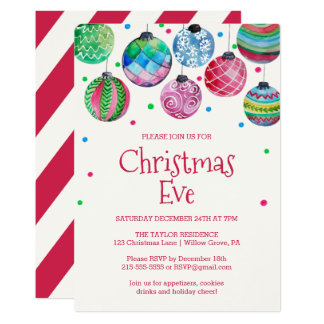 Holiday Ornament Christmas Eve Party Card