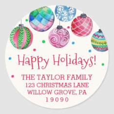 Holiday Ornament Christmas Return Address Classic Round Sticker at Zazzle