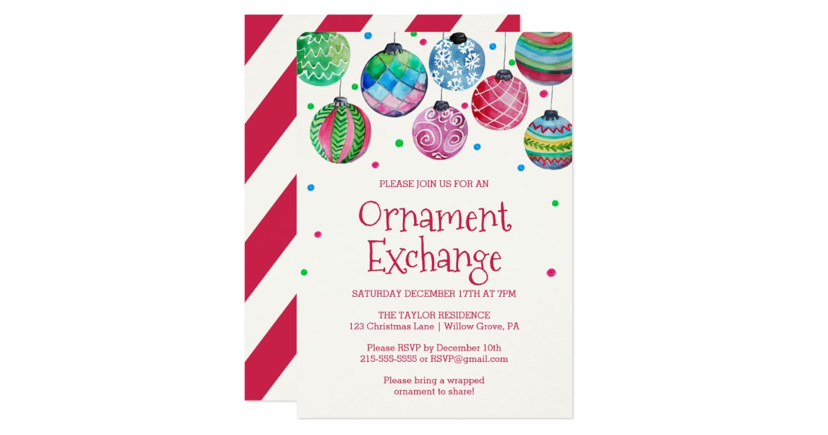 Holiday Ornament Exchange Party Card | Zazzle.com