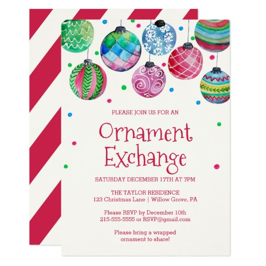 holiday ornament exchange party invitation zazzle com