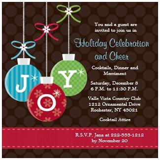 Holiday Ornament Invitations invitation