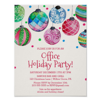 Holiday Ornament Office Christmas Party Invitation Poster