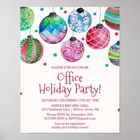 Holiday Ornament Office Christmas Party Invitation Poster Zazzlecom