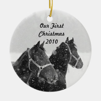 Holiday Ornament Our First Christmas Horse Theme